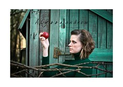 """""""Forbidden Fruit"""" (Alyssa Andrew Photography) Tags: green apple colors girl look barn catchycolors interesting eyes women unique vivid pale stare concept conceptual blankstare thelook greendress pregnantwomen greentint redapple vintageclothing urbanfragments paleskin blueribbonwinner greenshed"""