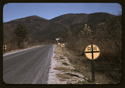 Railroad crossing along the Skyline Drive, Virginia (LOC)