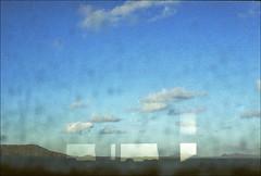 (DaveSinclair) Tags: abstract colour reflection slr film window sunshine ferry clouds 35mm scotland boat lanscape hebrides dirtywindow outerhebrides berneray utatafeature autaut possex