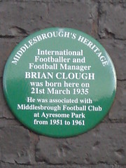 Photo of Brian Clough green plaque