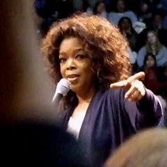 Oprah speaks at the Barack Obama rally at UCLA