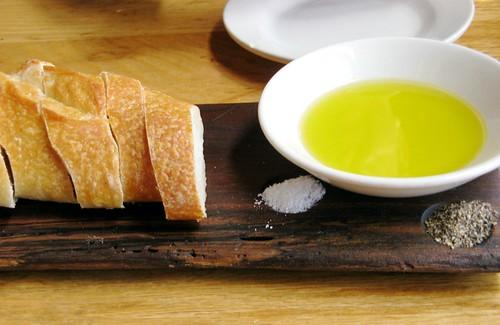 bread, oil, salt, pepper