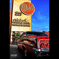 bob's big boy (Kris Kros) Tags: auto california ca original boy red classic belair look car photoshop vintage photography la losangeles big high nikon dynamic antique diner double retro deck eat socal coche hamburger kris burbank d200 oldies 2008 range hdr bigboy bobs kkg bbb cs3 3xp kros kriskros kk2k abigfave kkgallery