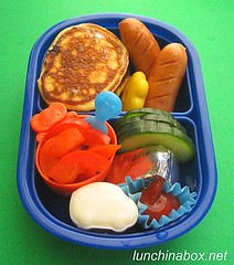 Mini pancake bento lunch for preschooler (Biggie*) Tags: food cheese kids pancakes children lunch kid toddler child ketchup cucumber egg sausages bento maplesyrup packedlunch blueberrypancakes schoollunch biggie brownbag bellpeppers preschooler lunchinabox boiledegg quailegg redbellpepper sacklunch minipancakes moldedegg bentoblog arabiki brownbaglunch mouldedegg ssbiggie lunchinaboxnet arabikisausages twittermoms
