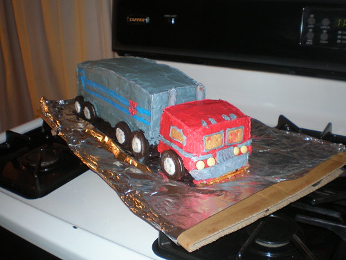 Paul & Liam's Optimus Prime Cake