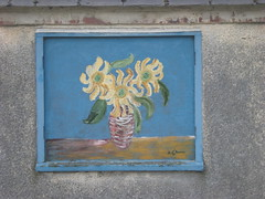 Runwell Hospital wall art 1- close up (johngretton71) Tags: flowers blue girls fish sexy art naked nude breasts stop advert seduction lure brilliance cheating graffitee runwellhospital runwell gullibility