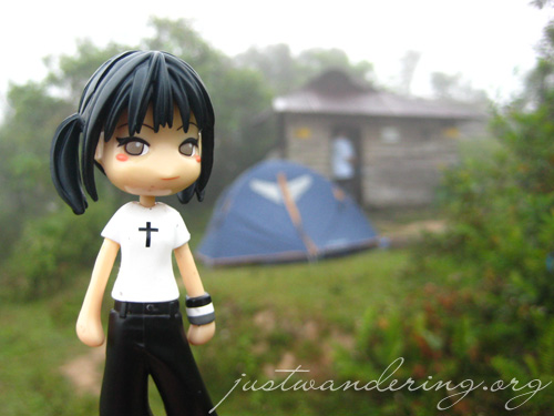 Reina at the campsite