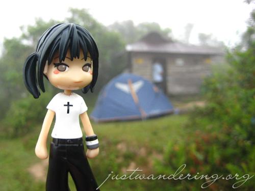 Reina at the campsite
