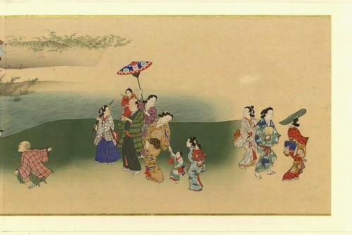Escena de verano- artista Chôshun Miyagawa parte de un rollo de pinturas-Placeres de las cuatro estaciones- pintado en seda.corregido el contrate