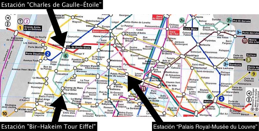 Mapa RER Tren y Metro Francia Paris