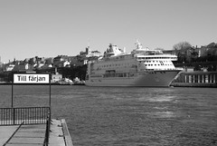 To the ferry (Miss Claeson) Tags: bw water sign ferry spring nikon ship sweden stockholm april nikond80