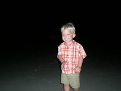 Noah's first time seeing the beach; at night time.