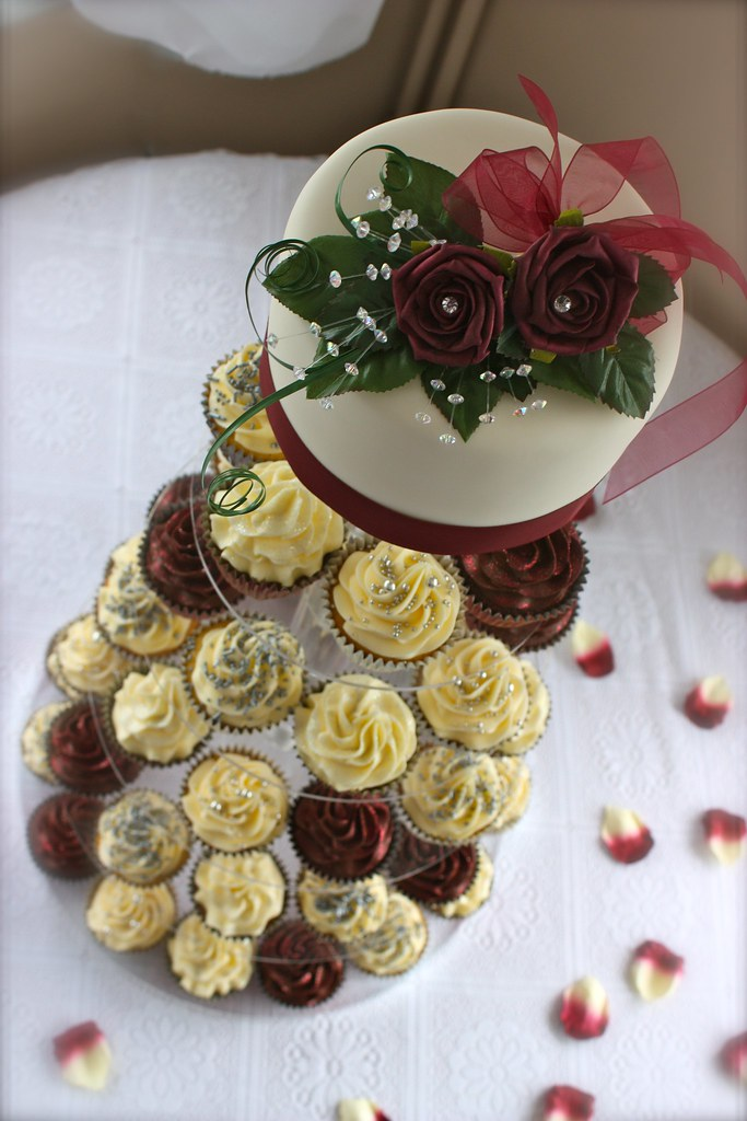 Burgundy & Cream Wedding Cupcake Tower