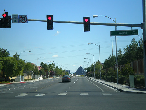 Driving toward the Luxor