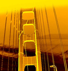 "My very ""golden"" Golden Gate Bridge (ArtsySF  ~ Marjie) Tags: bridge photoshop gold golden flickr explore goldengatebridge cables views 100 swivel sfchronicle ggb sanfrantastic canoncamera views100 midspan 96hrs sfchronicle96hrs sfmosaic myswivelscreenmadethisshotpossible 91on6508"