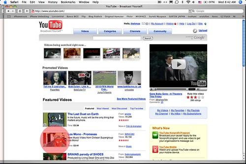 """""""Los Mono"""" en frontpage de Youtube.com"""
