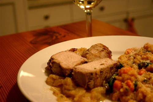pork with apples, risotto with sweet potato spinach, rosemary and gorgonzola