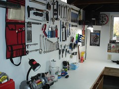 Brandon's tool board in the Man Cave 026 (Brandon448) Tags: bicycle workshop mancave parktool toolboard