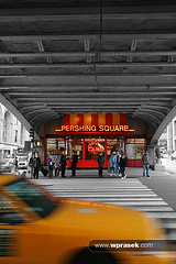Pershing Square bridge BW (wprasek) Tags: road street city bridge bw newyork car yellow square drive us automobile driving traffic unitedstates path cab taxi transport engineering overpass structure transportation vehicle flyover pershing roadcrossing landtransportation taxicar warrenprasek foliourban pershingsquarebridge xoodu wprasek wwwxooducom wwwwprasekcom