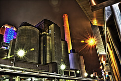 Heat Plant III (Philipp Klinger Photography) Tags: light chimney sky plant colors illustration night photoshop germany industrial shot frankfurt vivid heat hdr hesse flared hdratnight
