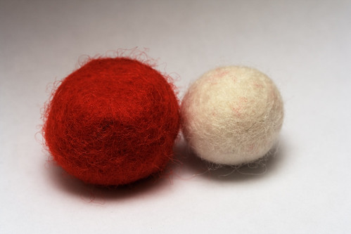 Two balls of felt wool