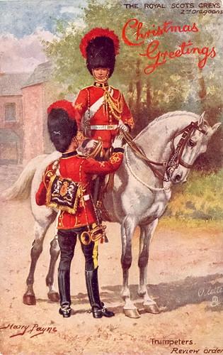 Royal Scots Greys Christmas Greetings Postcard (c. 1894 - 1918)