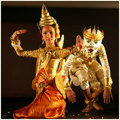 Hanuman and siren-Paris (kinginexile) Tags: girls portrait paris france girl children asia cambodia festivals apsara apsaras itsongmirrorssoutheastasia cabaretdesoiseaux