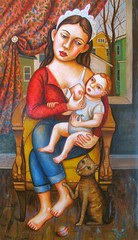 Our Lady of Grand Rapids - finished ({studiobeerhorst}-bbmarie) Tags: woman cats painting children women child breastfeeding motherhood maddona