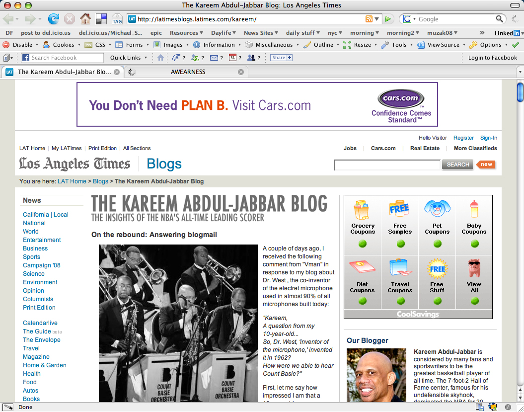 The Kareem Abdul-Jabbar Blog: Los Angeles Times