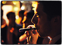 Groom's Contentment (Ryan Brenizer) Tags: wedding groom march nikon bokeh cigar smoking celebration lowkey 2008 dobbsferry d3 westchester weddingphotojournalism 2470mmf28g missyandcharlie