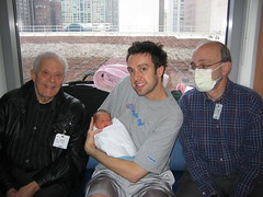 Ellie with Great-Grandpa Irv, Zayde Stu, and Daddy