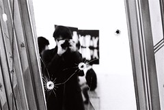 license to shoot (gguillaumee) Tags: people blackandwhite bw selfportrait france art film me broken myself mirror war shoot fuji geometry contemporary neopan bullet pompidou beaubourg nikonf80 1600iso gguillaumee
