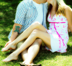 And if you were a kiss, I know I'd be a hug (GodsEmerald) Tags: park irish tattoo foot spring kiss husband location wife longlegs gtwl familygetty2010