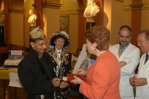 Lady Anson receives the butterfly