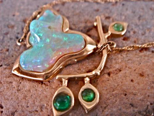 Return of Spirit Coober Peedy Opal and Emerald OOAK Pendant