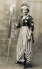In fancy dress as America (lovedaylemon) Tags: america vintage garden found image flag headdress consett rowilson