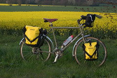 Bike and Me - Bike 1 (killermonkeys) Tags: field bike bicycle yellow cycle surly touring ortlieb panniers longhaultrucker