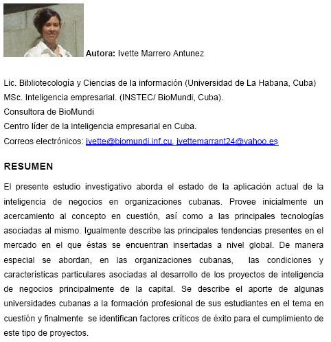 Estudio BI en Cuba
