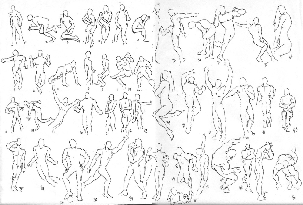 "Spartan Camp #43 - 50 gestures + Optional Study of ""4 cubes in perspective"""