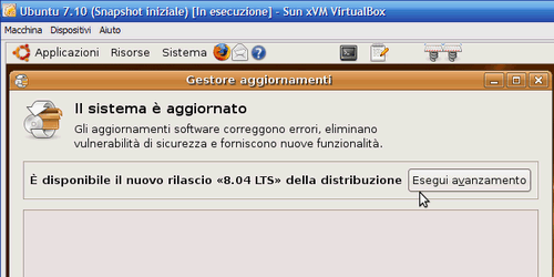 Fig 10 - VirtualBox snapshot - Avanzamento di versione di Ubuntu