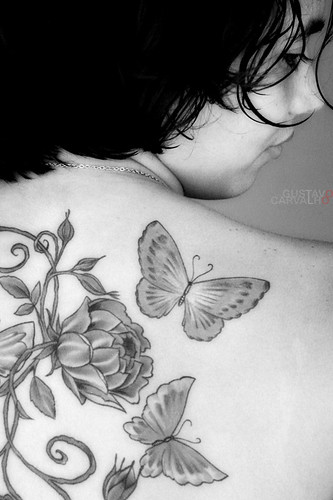 butterflies and flowers tattoo