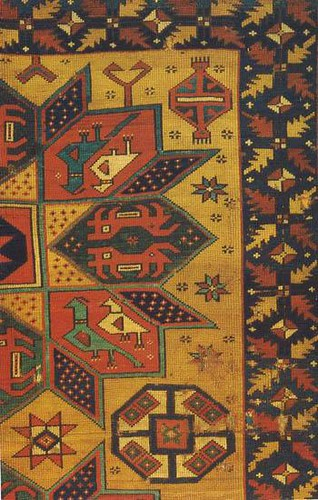 Carpet fragment detail with animal, star, and roundel motifs, 15th c., Greater Armenia