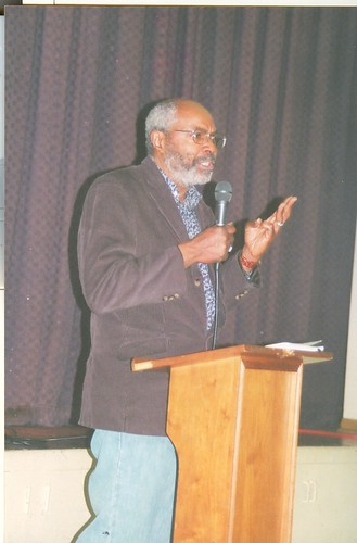 Abayomi Azikiwe, Pan-African News Wire Editor, speaking at the Central United Methodist Church in Detroit at an anti-war rally on March 15, 2008.  PANW articles have been published in many newspapers and websites around the world. (Photo: Rudy Simons). by Pan-African News Wire File Photos