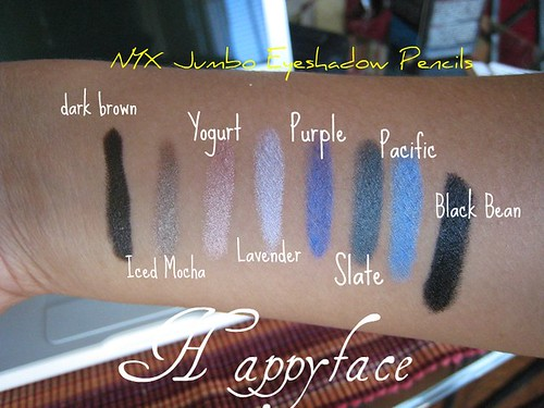 nyx jumbo eyeshadow pencil swatches