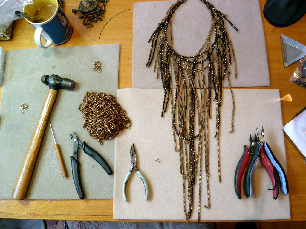 the making of 'diamonds & rust' big neckpiece