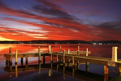 An hour after sundown (pominoz) Tags: sunset lake reflection clouds pier belmont jetty nsw reflexions lakemacquarie swp