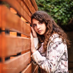 \ (helen sotiriadis) Tags: portrait brown white green girl face canon fence hair eyes hands published dof bokeh perspective depthoffield nix canonef50mmf14usm canoneos40d dslrmag updatecollection
