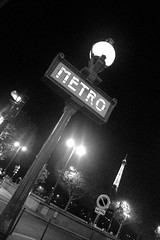EiffelTowerNightMetroBW