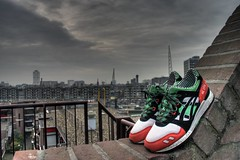 Patta x Asics [1st round HDR] (Tsewang K.) Tags: city roof wall rotterdam shoes cityscape dusk balcony sneakers asics kicks gel hdr lyte patta
