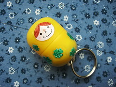 matryoshka pincushion on the go (ccyytt) Tags: green yellow sticker recycled handmade pincushion clover kindersurprise matryoshka